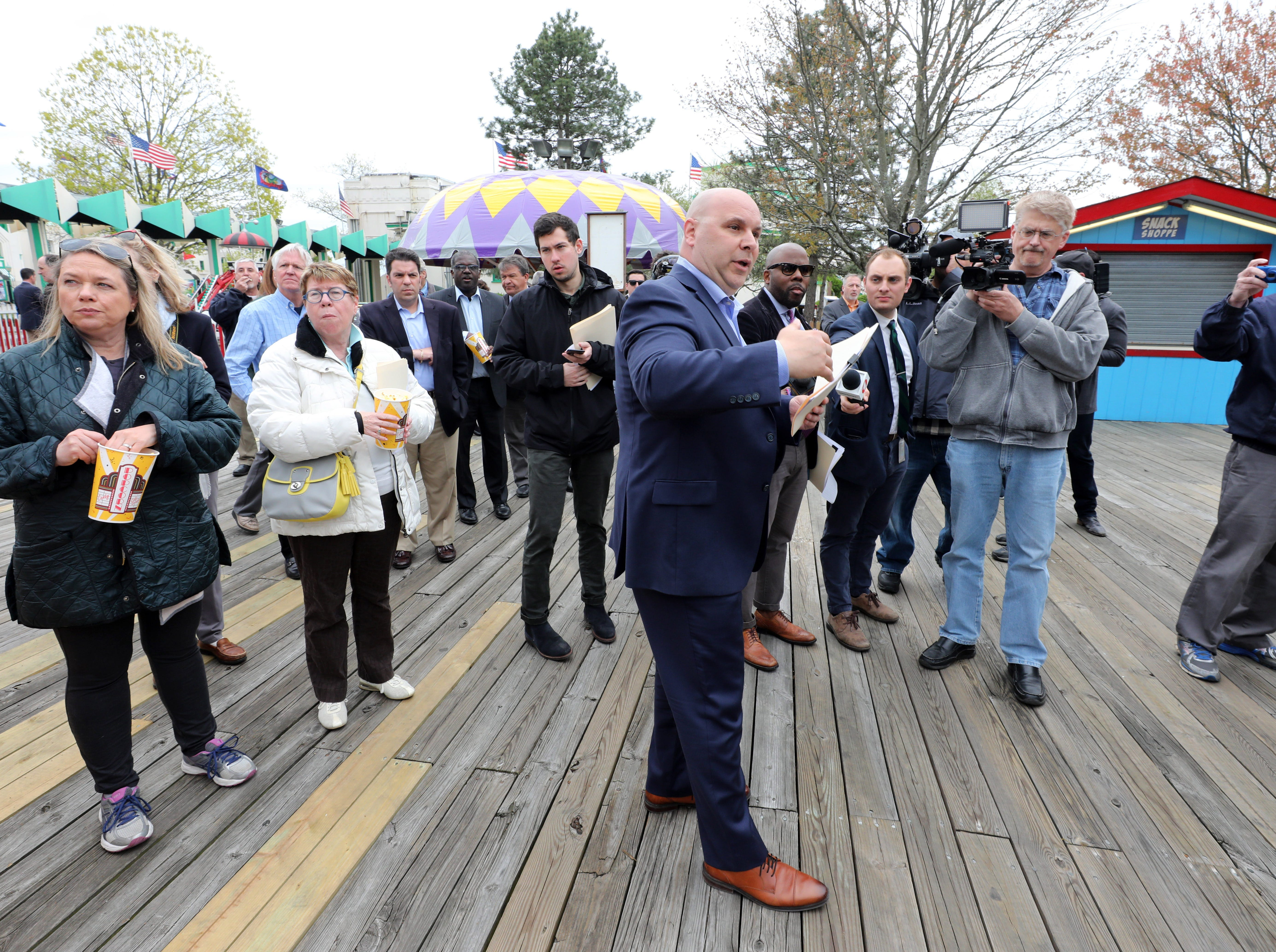 """Frank Carrieri, the general manager at Playland, talks about ride safety in the kiddyland area, during a """"ride and food safety tour"""" for the media, at Playland in Rye, May 9, 2019."""