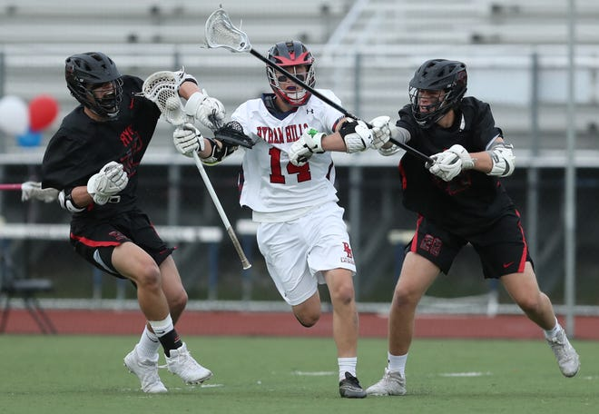 Rye defeats Byram Hills 8-3 in boys lacrosse action at Byram Hills High School in Armonk on Thursday, May 9, 2019.
