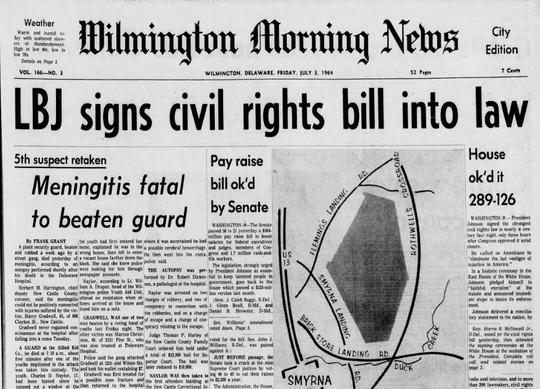 The headline in the Wilmington Morning News on July 3, 1964, trumpets the passage of the Civil Rights Act.