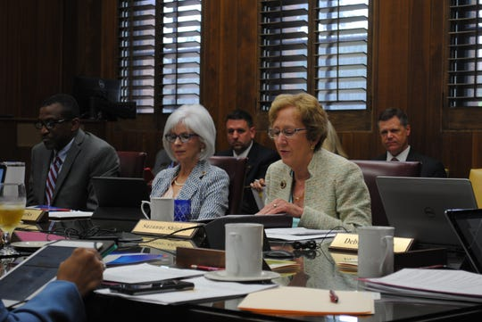 Midwestern State University President Dr. Suzanne Shipley, right, speaks Thursday during a Board of Regents meeting. The group received a presentation about two new doctorate programs that could be offered as soon as 2021 at the university.