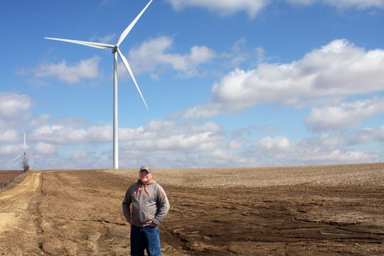 While Tim McComish only hosts one turbine, his property is right in the middle of the 49-turbine Quilt Block Wind Farm covering a 6 square miles radius.
