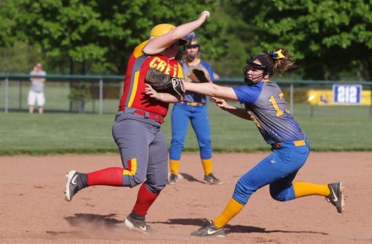 Philo's Corin Tom tags out a runner against Indian Creek.