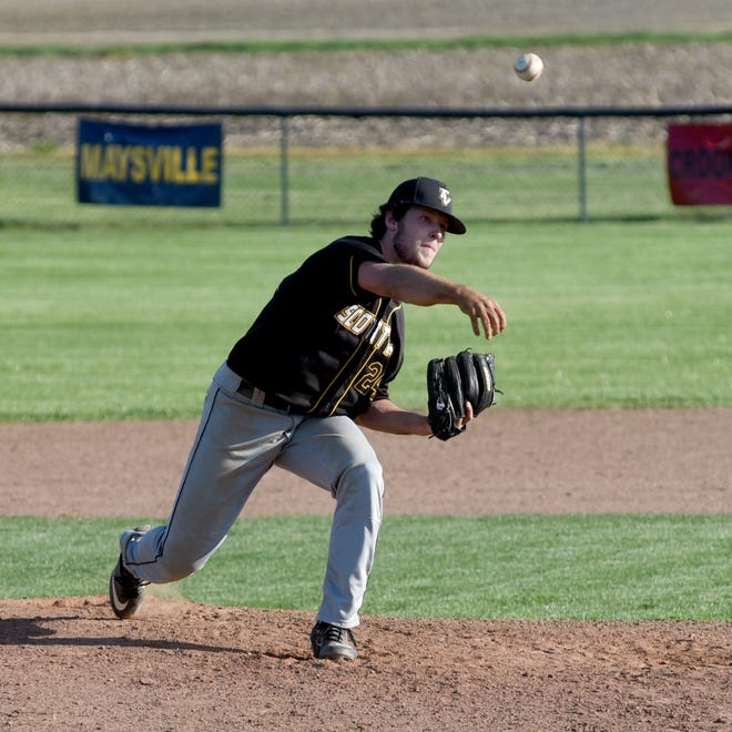 Chase Kendrick fires a pitch to the plate during visiting Tri-Valley's 10-6 win against Sheridan on Wednesday in Thornville.