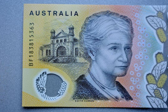This photo illustration shows the detail in Australia's state-of-the-art new 50 dollar banknote in Sydney.