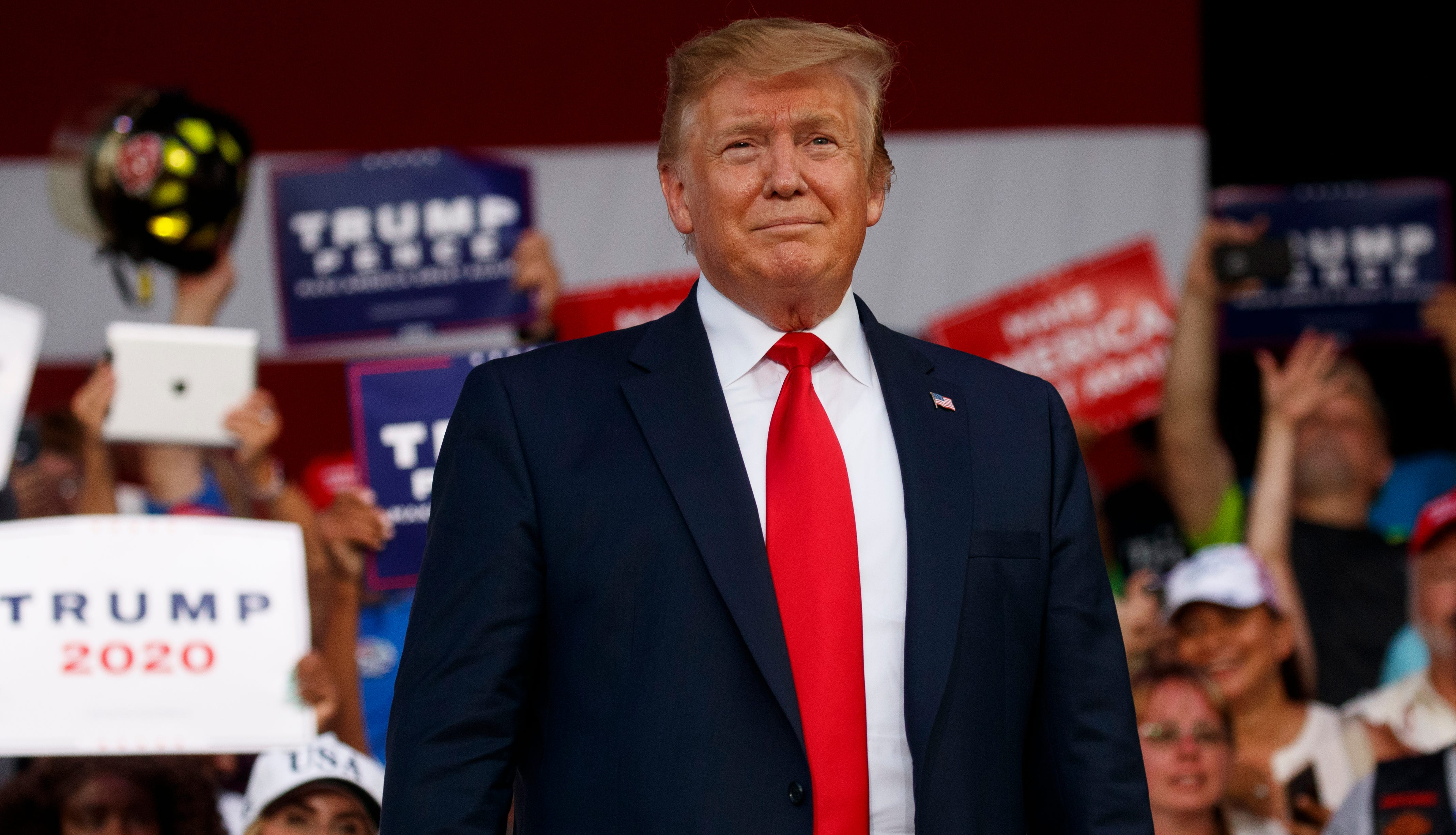 President Donald Trump arrives to speak at a rally at Aaron Bessant Amphitheater, May 8, 2019, in Panama City Beach, Florida.