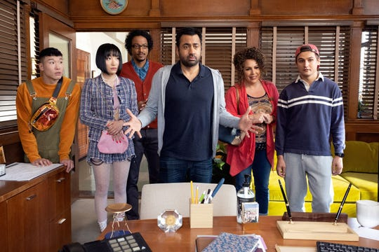 "Kal Penn (center, ""Designated Survivor"") is Garrett Modi, a disgraced New York City councilman who hopes to find redemption by helping people try to become American citizens in NBC's ""Sunnyside."""