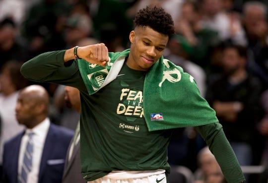 May 8, 2019; Milwaukee, WI, USA; Milwaukee Bucks forward Giannis Antetokounmpo (34) celebrates a play during the fourth quarter against the Boston Celtics in game five of the second round of the 2019 NBA Playoffs at Fiserv Forum. Mandatory Credit: Jeff Hanisch-USA TODAY Sports