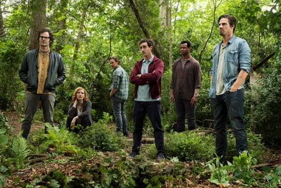 "Bill Hader (far left), Jessica Chastain, James McAvoy, James Ransone, Isaiah Mustafa and Jay Ryan star as the grownup Losers' Club in ""It Chapter Two."""