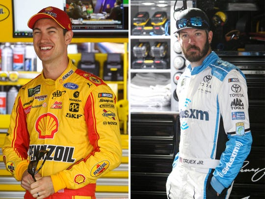 Joey Logano, left, and Martin Truex Jr. have been fierce rivals on the track but will come together at Truex's charity event for childhood cancer patients.