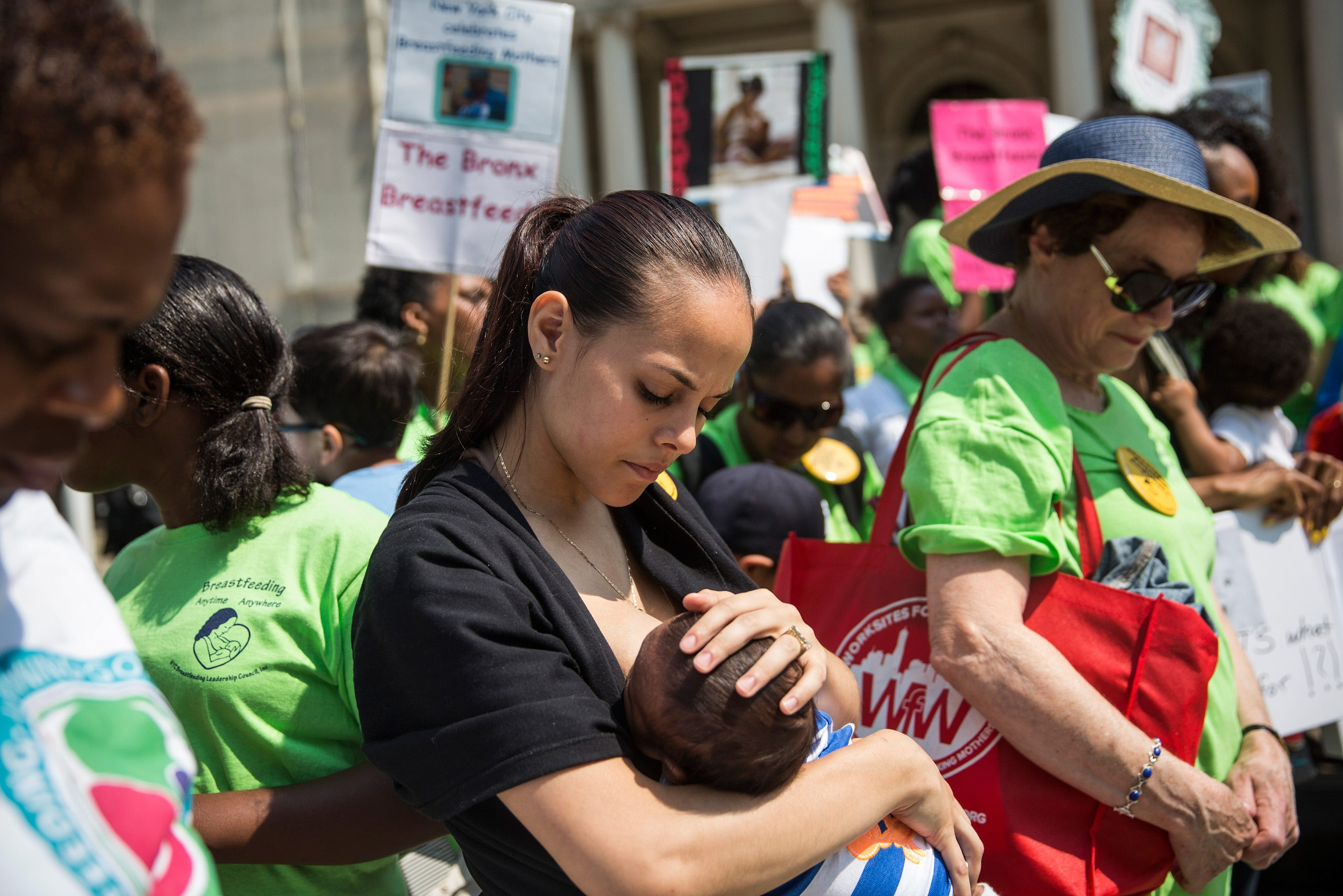 Crystal Mauras breastfeeds her 2-month-old son, Christopher Rhodes Jr., outside New York City Hall during a rally to support breastfeeding in public on August 8, 2014.