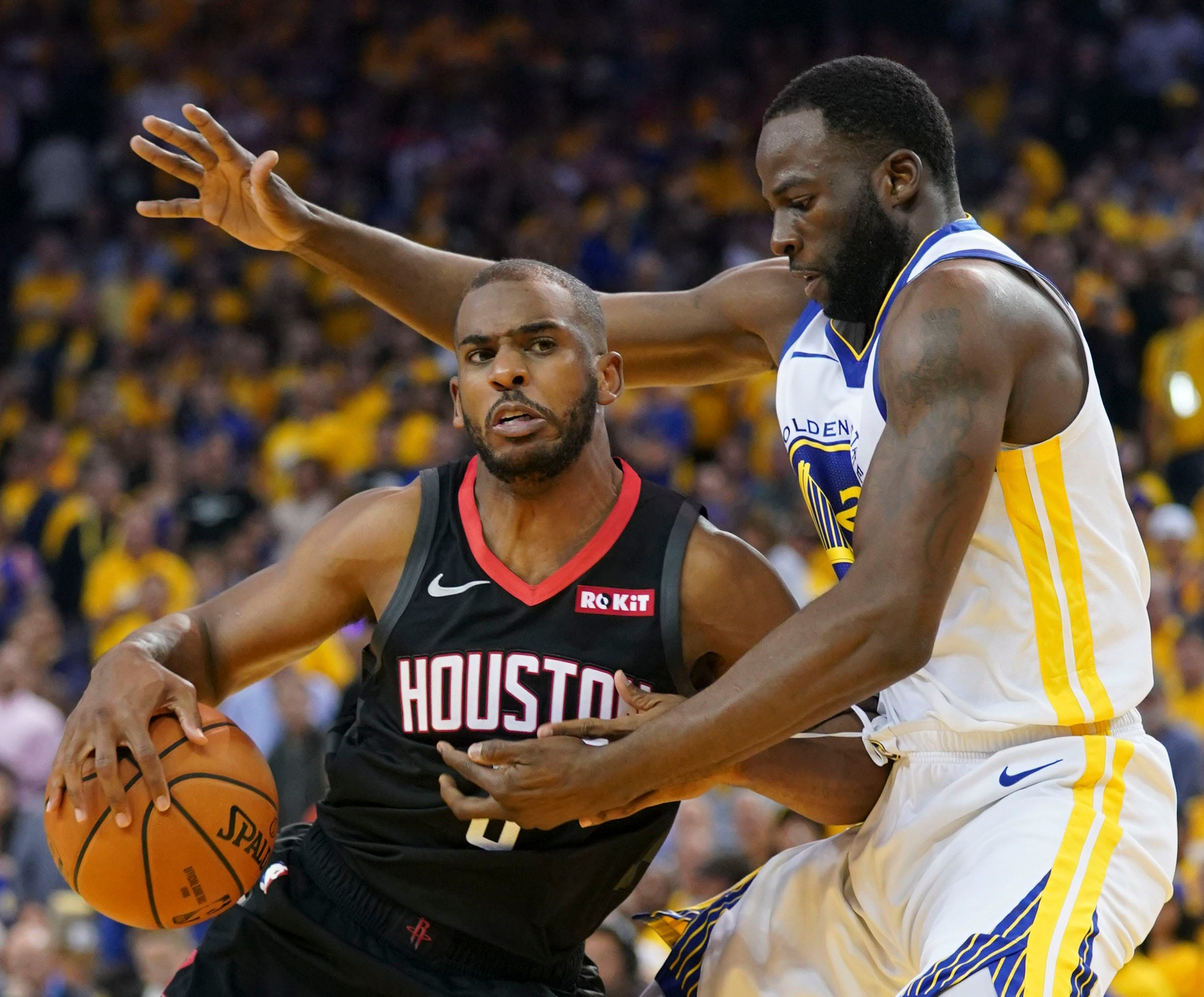 May 8: Houston Rockets guard Chris Paul (3) dribbles the basketball against Golden State Warriors forward Draymond Green (23) during the second quarter of Game 5 at Oracle Arena.