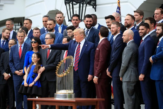 President Donald Trump welcomed the Boston Red Sox to the White House on Thursday.