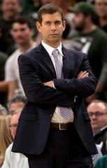Brad Stevens looks on during Game 5 against the Bucks.