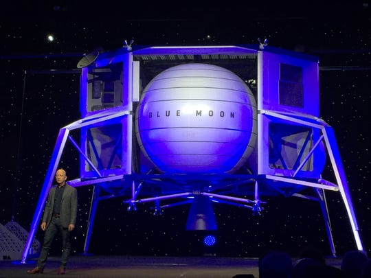 The Blue Moon lunar lander was unveiled in Washington, D.C., on May 9, 2019.