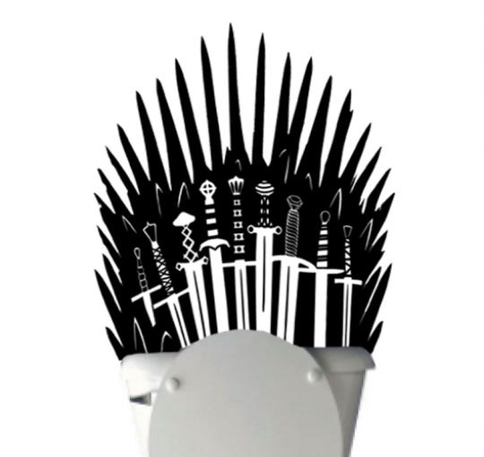 Feel like a king or queen in your own bathroom with this Iron Throne wall decal.
