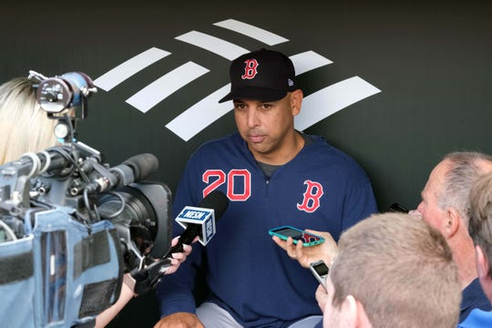 Red Sox manager Alex Cora answers questions prior to the game against the Baltimore Orioles at Oriole Park at Camden Yards on May 7, 2019.