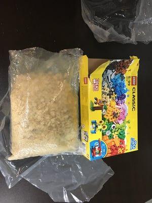 The Bulloch County Sheriff's Office in Georgia says a bag of meth was found in a box of Legos purchased at a South Carolina consignment shop.