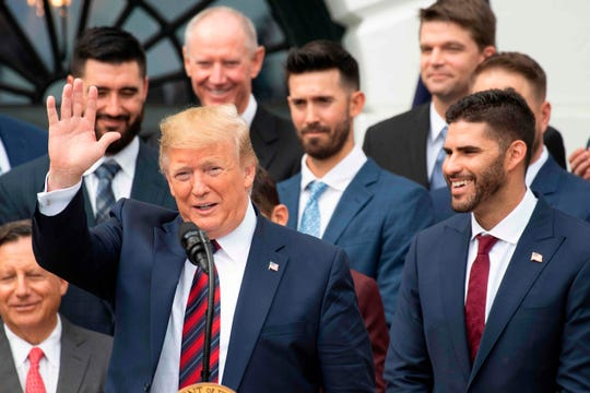 Donald Trump welcomed the 2018 World Series champion Boston Red Sox to the White House on Thursday.