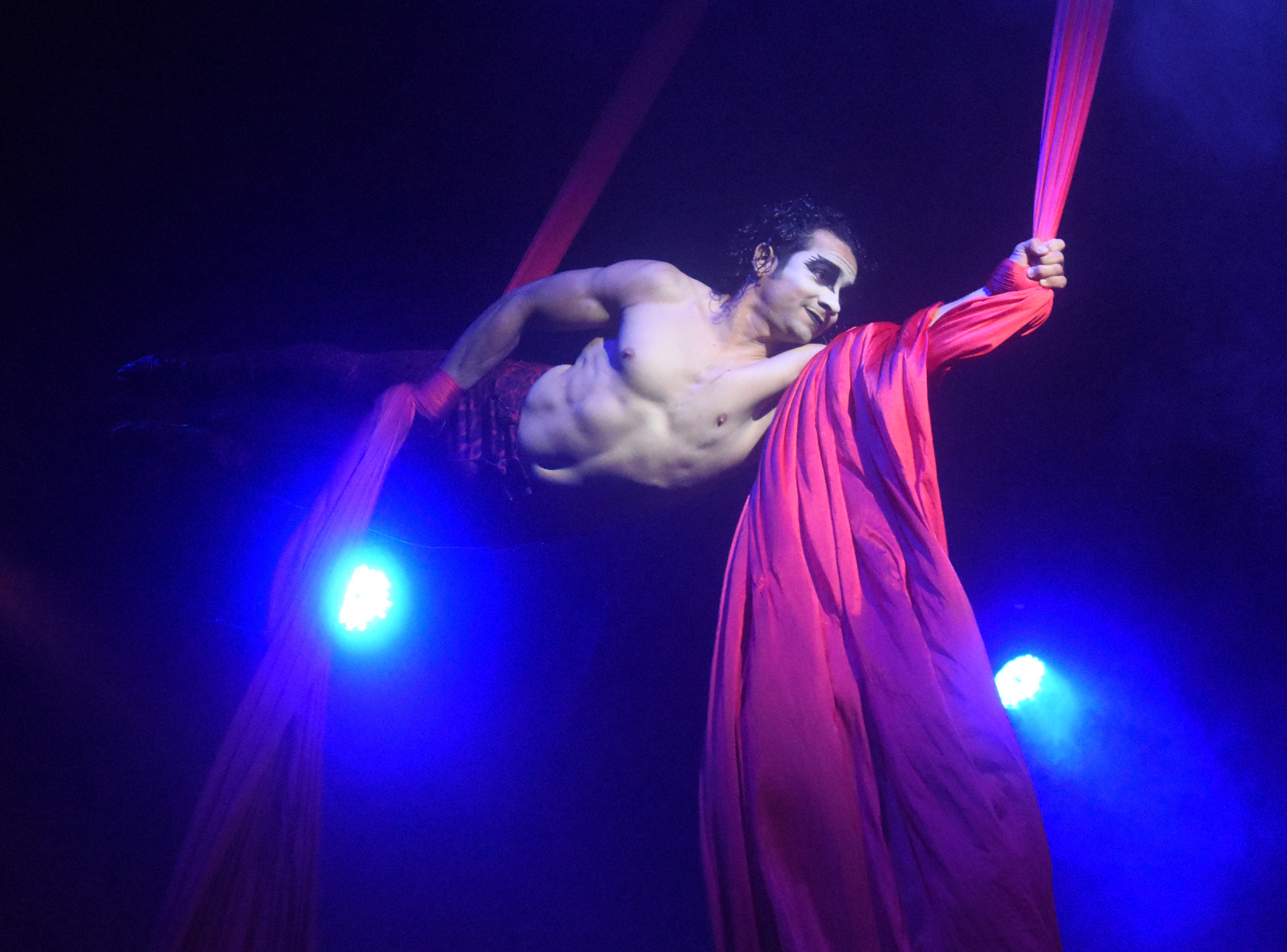 """Jhon Villegas, an aerial acrobat with the """"Paranormal Cirque!"""" performs Thursday, May 9, 2019. """"Paranormal Cirque!"""" has a horror-based theme, features acrobats, magic, theatrical performances and clowns. The show is geared towards adults and no one under the age of 13 is permitted. Those 13-17 years old must be accompanied by an adult. """"Paranormal Cirque!,"""" a presentation of Cirque Italia, has caused controversy with some churches starting a petition to have the Alexandria Mall cancel the performance. The cirque is set up in the parking lot of the Alexandria Mall on Masonic Drive. Another petition was started by other members in the community for the circus to perform as planned. Ticket prices range from $10-50. Audience members interact with performers in an area that is set up like a horror house prior to entering the main tent for the performance. There is audience interaction during the show. Performances continue Friday with two performances at 5:30 p.m. and 7:30 p.m.; Saturday at 5;30 p.m., 6:30 p.m. and 7:30 p.m.; and Sunday at 5:30 p.m.; and 8:30 p.m. For more information visit, www.paranormalcirque.com."""