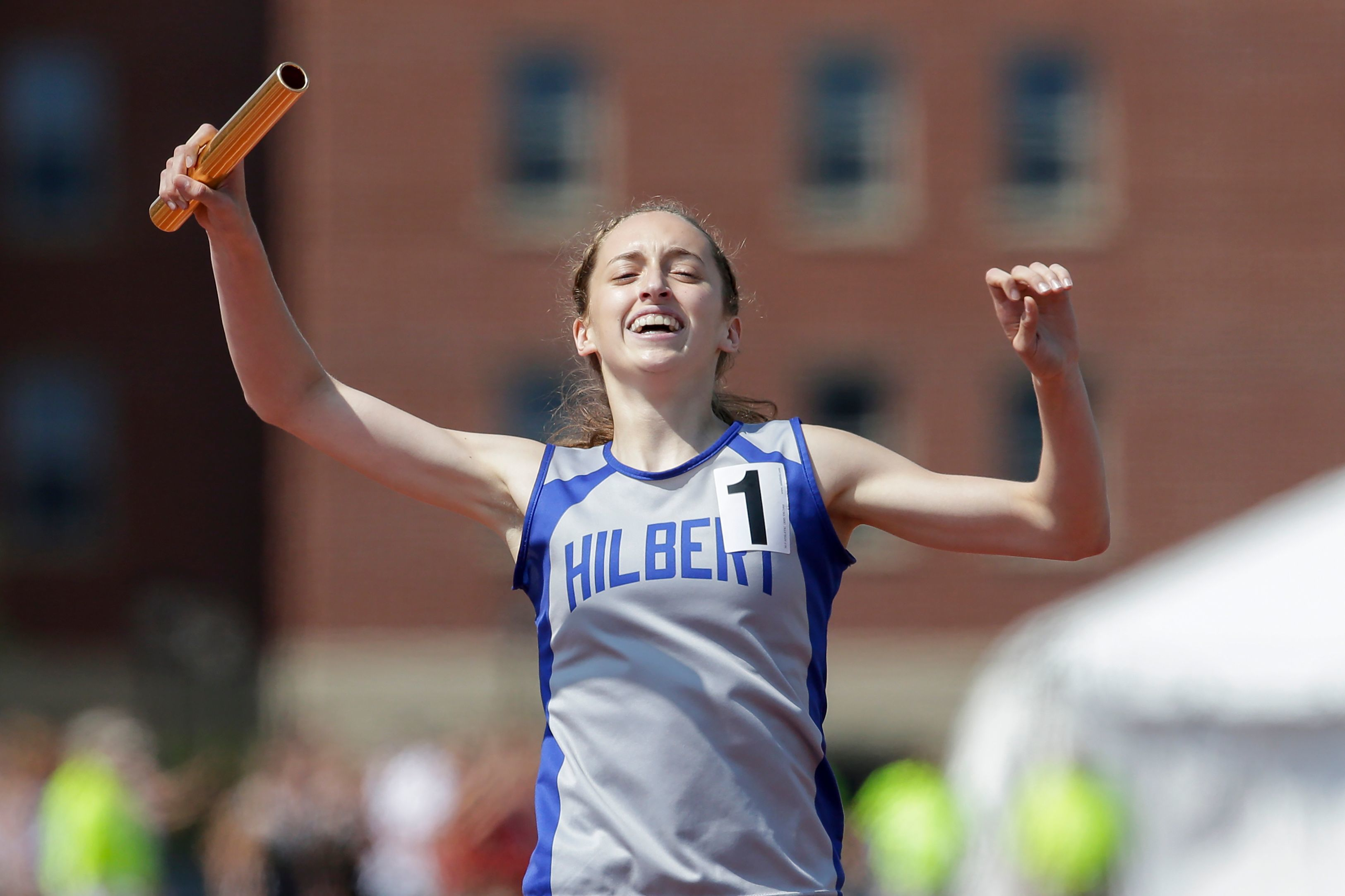 Makaylee Kuhn of Hilbert hopes to return in time for regionals after missing all of the track and field season due to a knee injury during basketball.