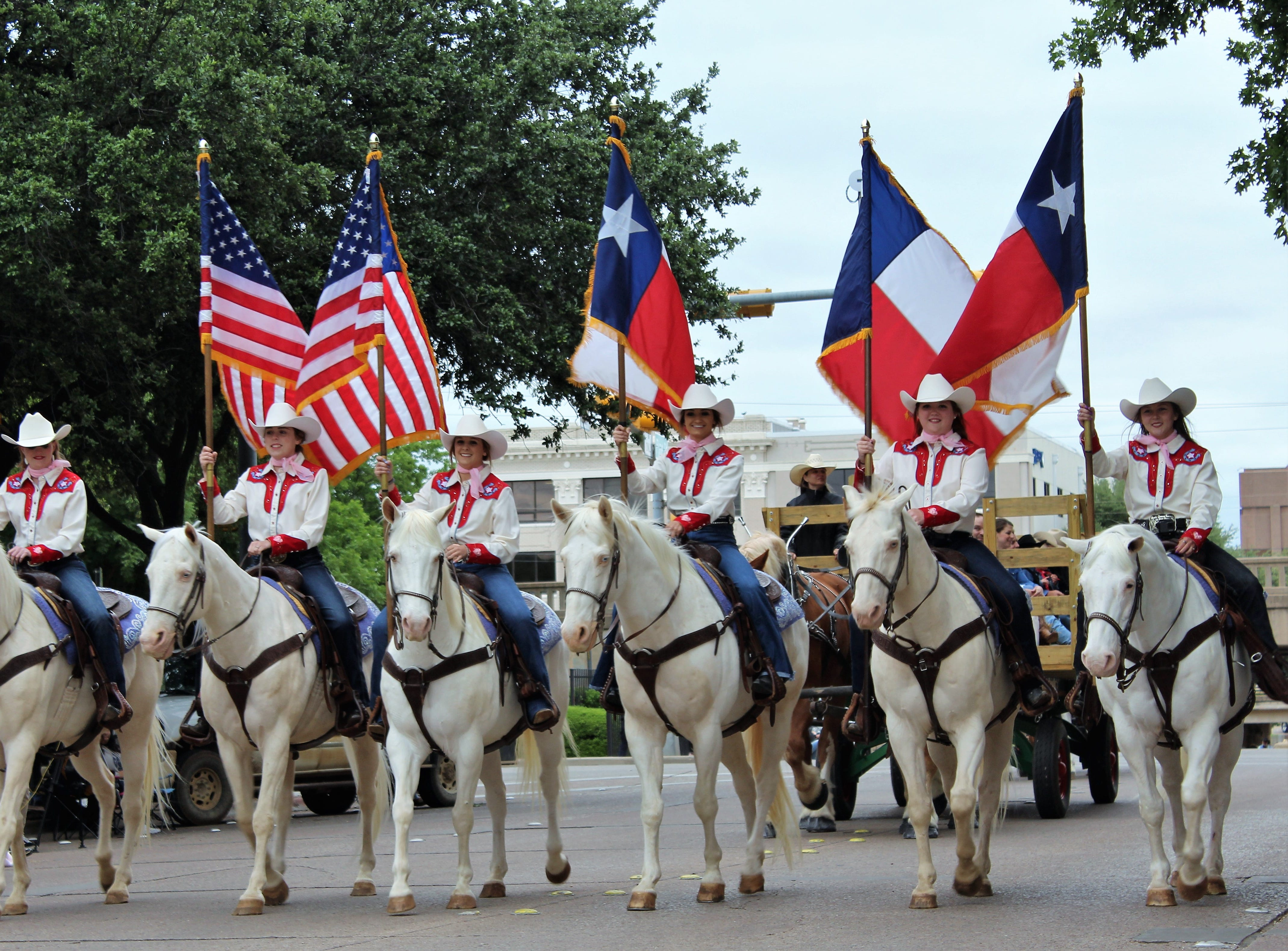 The annual Western Heritage Classic parade is not complete without the Six White Horses of Hardin-Simmons University, seen marching side by side north on Pine Street on Thursday. May 9, 2019.