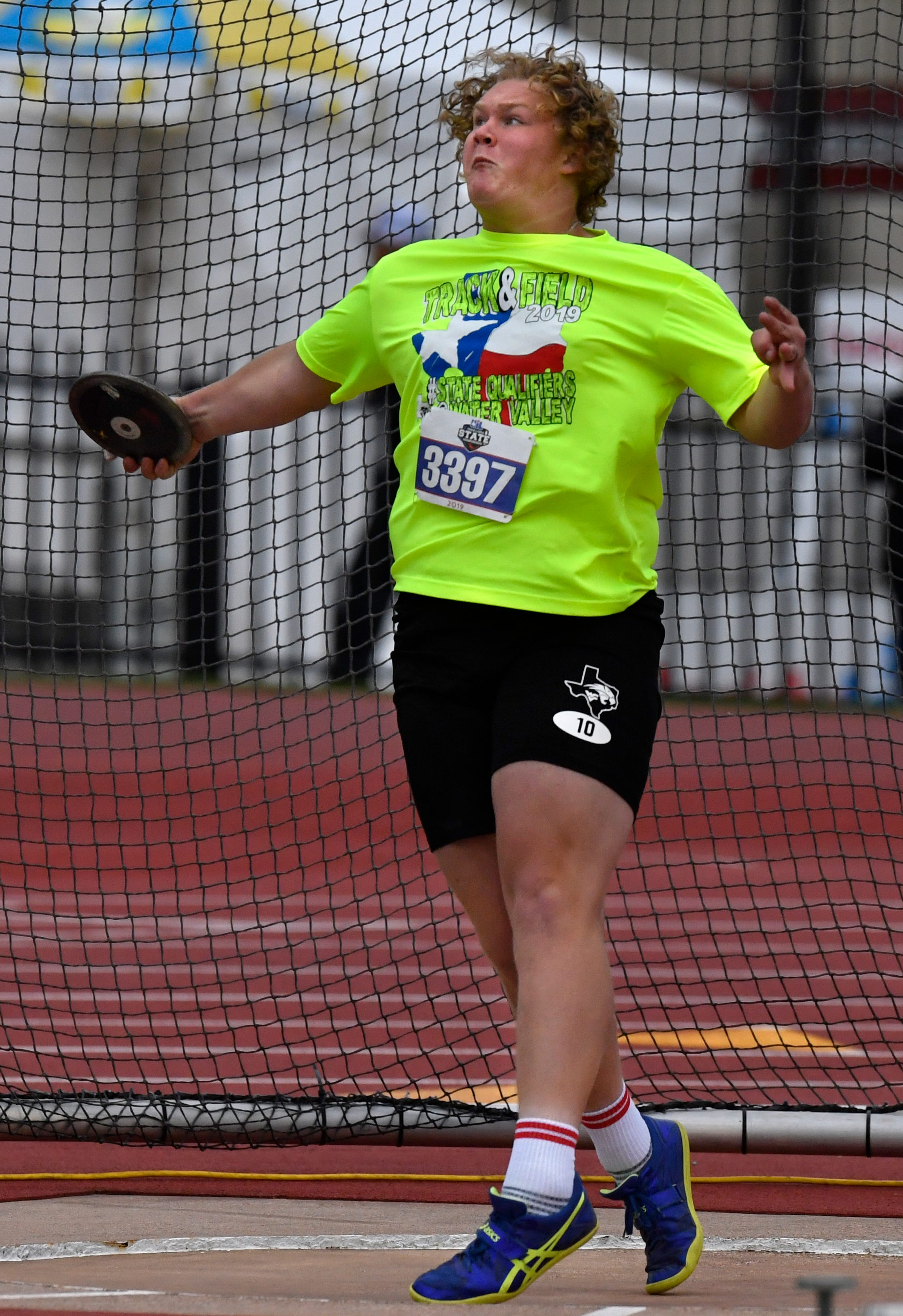 Hunter Sturgess of Water Valley makes a throw in the 1A Boys Discus during the UIL State Track & Field Championships in Austin Friday May 10, 2019.