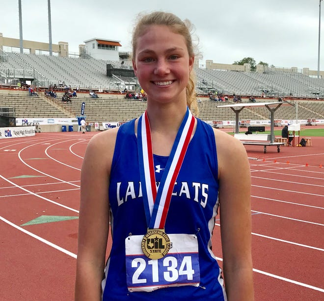 Westbrook senior Miranda Goswick set a state record in the Class 1A girls high jump, clearing 5-foot-5 to win the event at the UIL state track and field meet Friday in Austin.