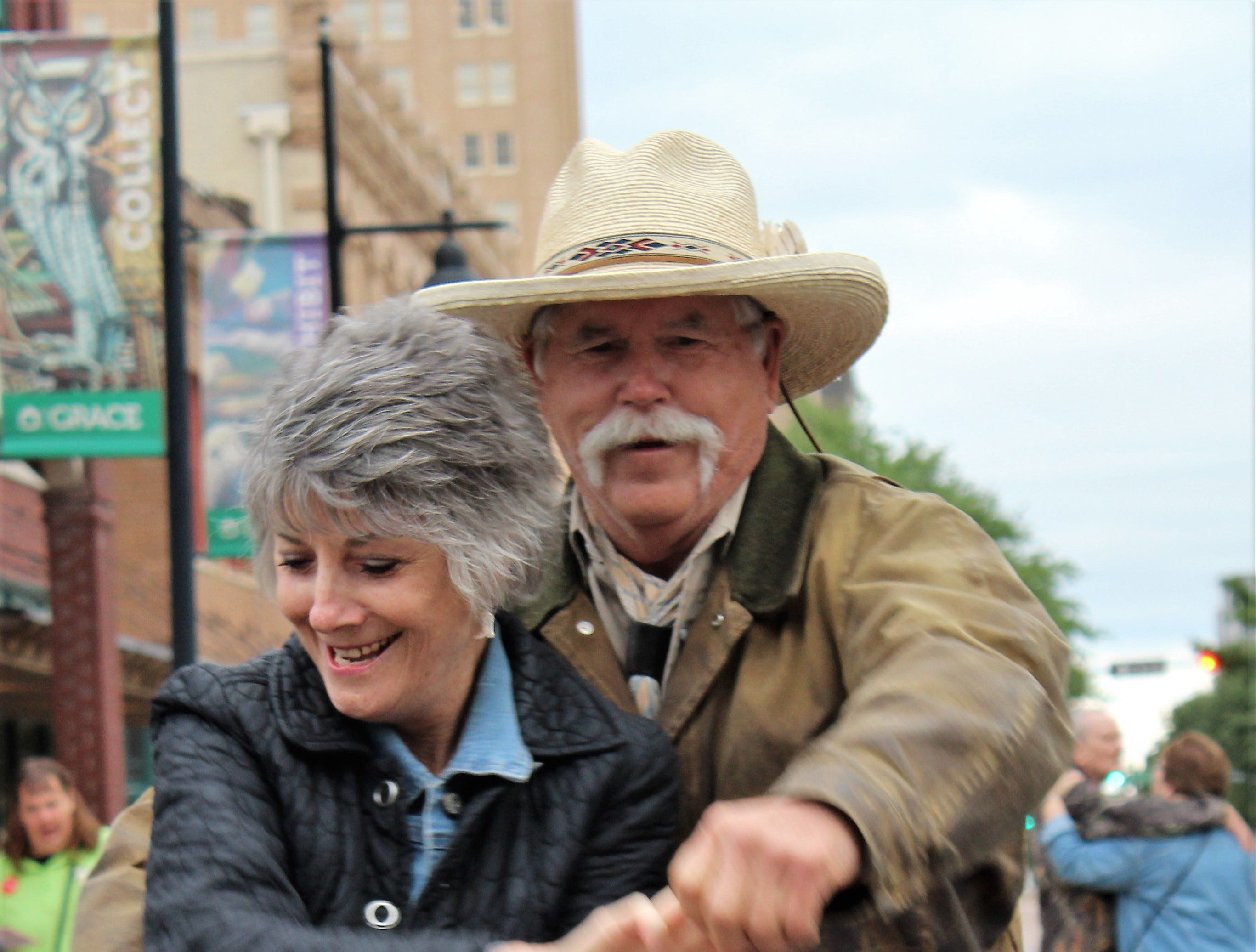 Loyd and Glenda Arthur, of Pryor, Oklahoma, whirl and twirl on the star at North First and Cypress streets Thursday evening after the Western Heritage Classic parade. May 9 2019