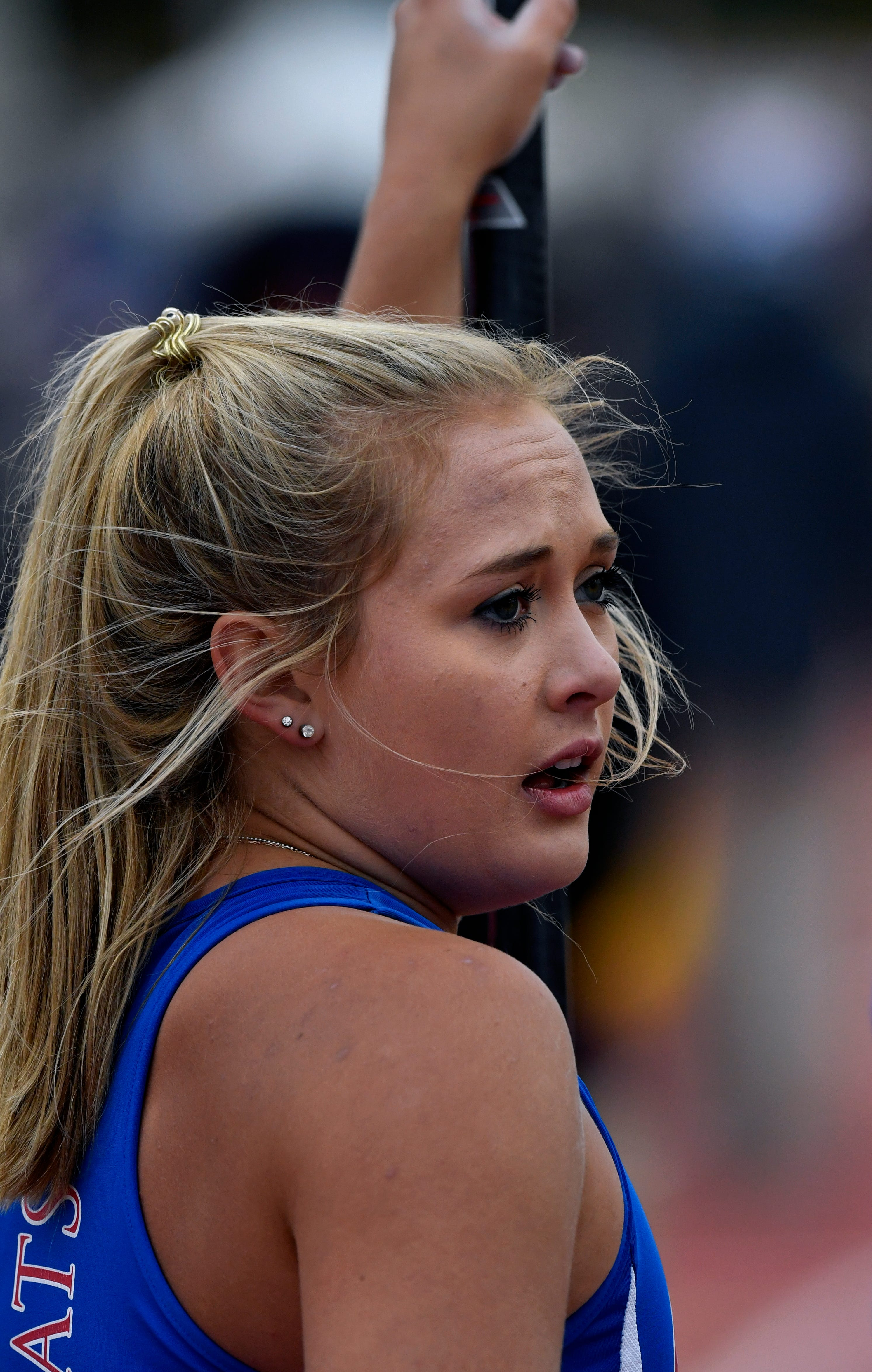 Riley Floerke of Gregory-Portland speaks with her coach in between attempts in the Girls 5A Pole Vault at the UIL State Track & Field Championships in Austin Friday May 10, 2019. Floerke went on to win the event.