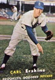 Abilene's Jim McAden shared his Carl Erskine baseball card.