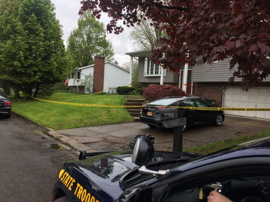 New York State Police remained at the crime scene Friday, May 10, 2019.