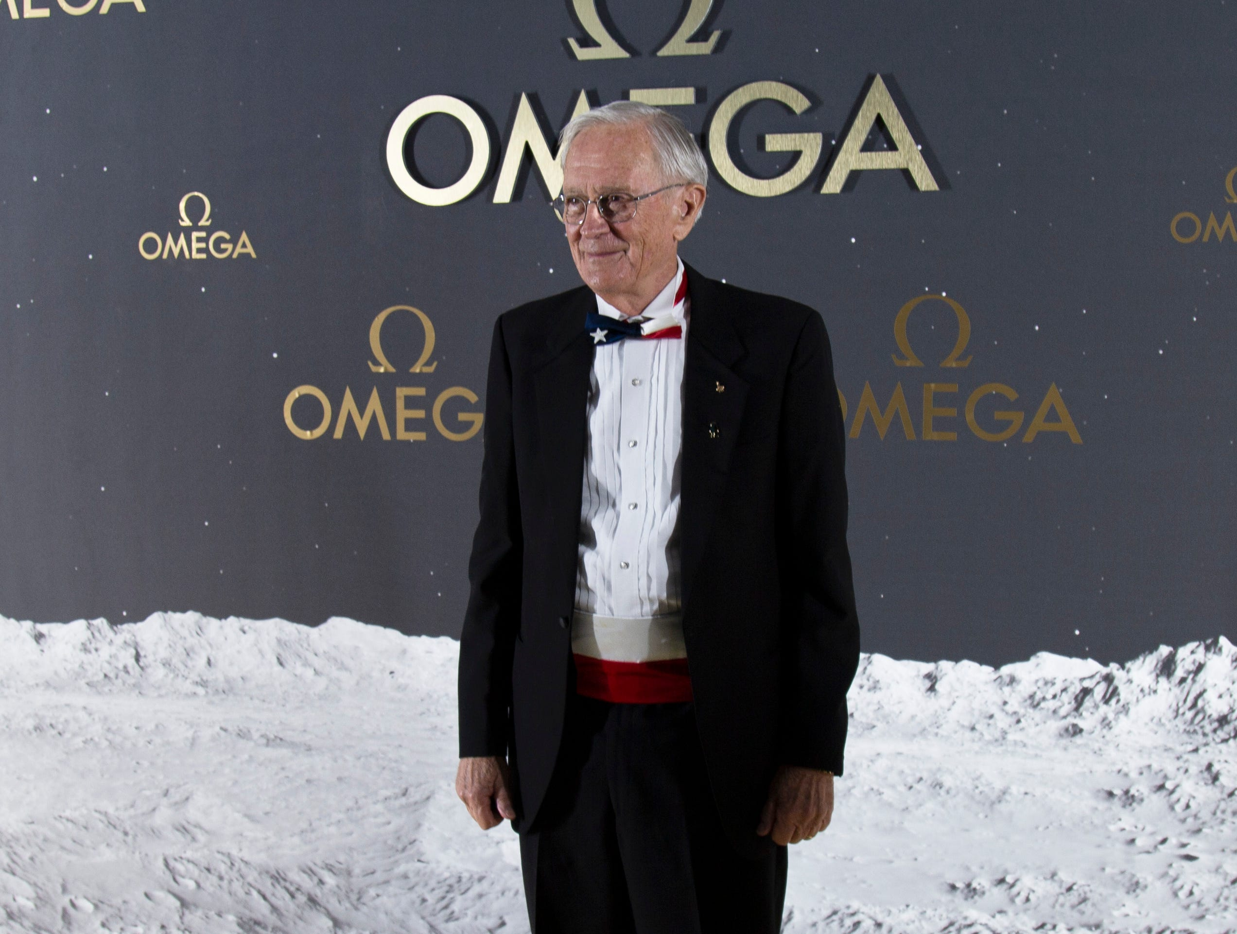 Former astronaut Charles Moss Duke at the red carpet outside the Apollo/Saturn V Center Thursday evening. The Swiss watch brand Omega, which accompanied Apollo 11 astronaut Buzz Aldrin when he walked on the moon's surface nearly 50 years ago, hosted an event honoring the 50th anniversary of the moon landing at the Apollo/Saturn V Center at the Kennedy Space Center. Those who attended the black-tie dinner included actor George Clooney,  as well as former astronauts Thomas Stafford and Charles Moss Duke.