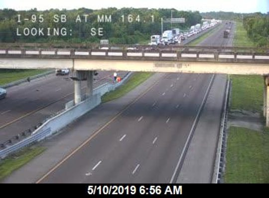 Crash with injuries bringing delays on northbound I95 near Palm Bay May 10, 2019.