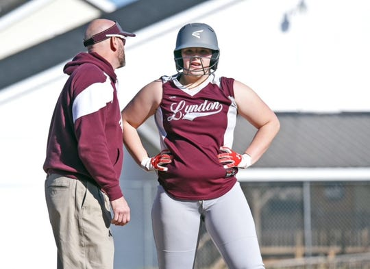Lyndon's Ariel Switser, rigthts, chats with coach Chris Carr during a game earlier this season.
