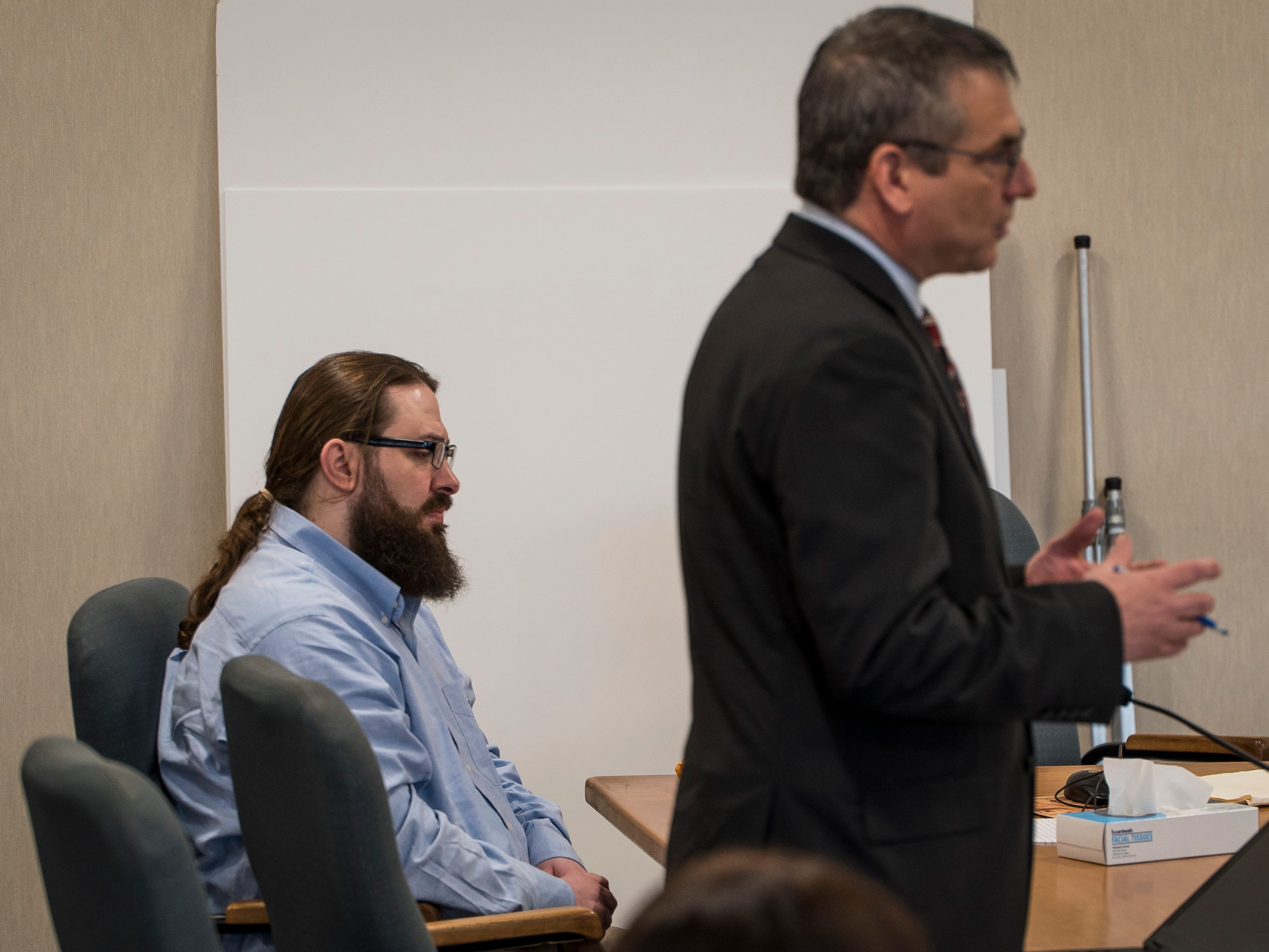 Steven Bourgoin's attorney Bob Katims makes a motion to dismiss second-degree murder charges against his client in Vermont Superior Court in Burlington on Friday, May 10, 2019. A judge denied the motion. Bourgoin faces second-degree murder charges in the deaths of 5 teens killed in a crash on I89 in 2016 and Katims argued that Bourgoin was suffering from mental illness when he drove up the highway the wrong way, colliding with the car-full of teens. The state says Bourgoin deliberately crashed into them and then stole a police car and drove it into the same crash scene at more than 100 mph.