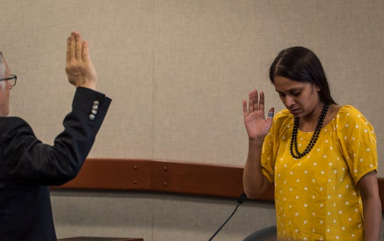 Anila Lawrence, who was in a relationship with Steven Bourgoin, is sworn in at Vermont Superior Court in Burlington on Friday, May 10, 2019. Bourgoin faces second-degree murder charges in the deaths of 5 teens killed in a crash on I89 in 2016.