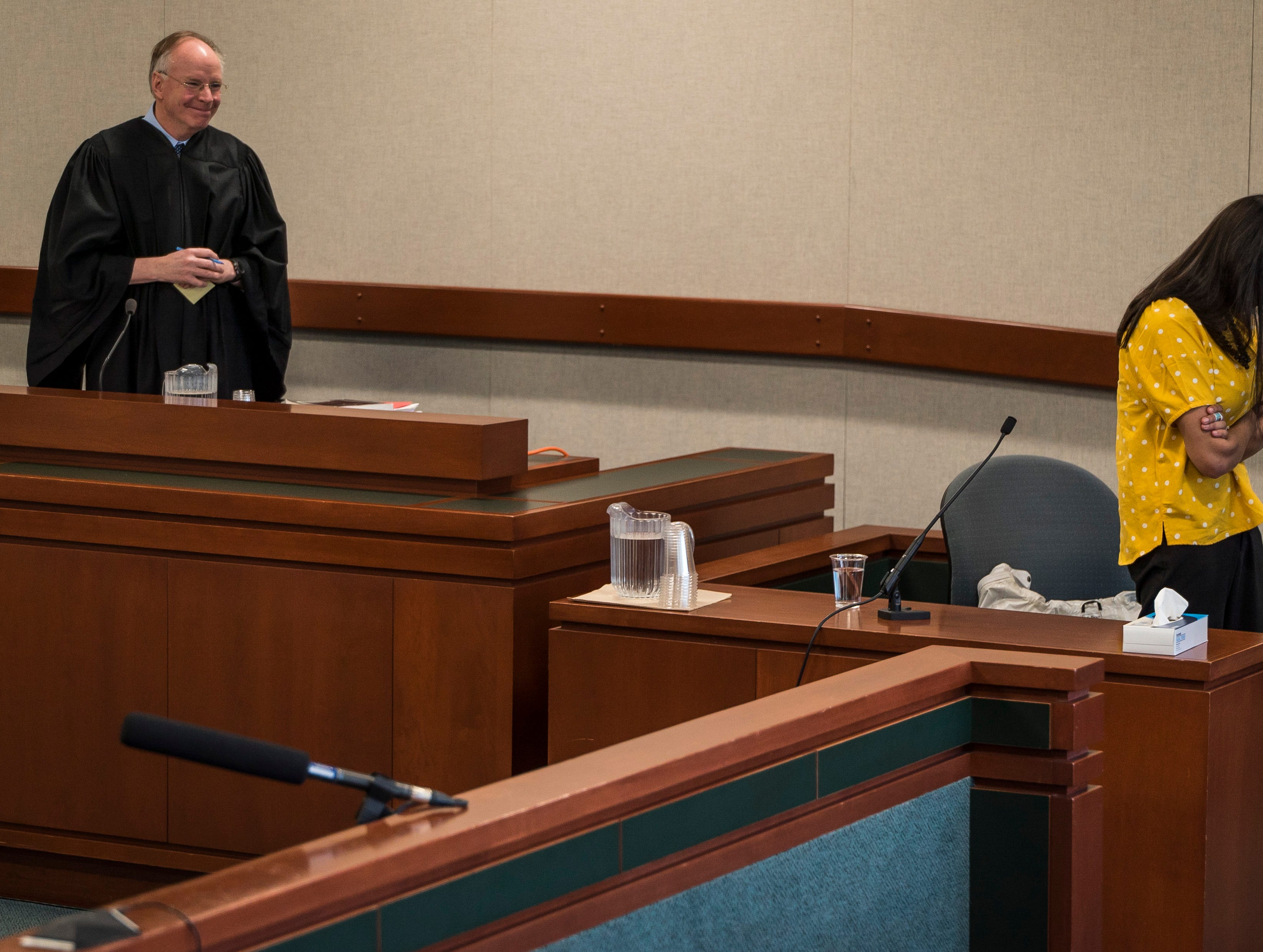 Judge Kevin Griffin pauses testimony and called witness Anila Lawrence, who was in a relationship with Steven Bourgoin, to conference with attorneys in Vermont Superior Court in Burlington on Friday, May 10, 2019. Lawrence was visibly upset at several points during her testimony, describing her relationship with Bourgoin, his assault of Lawrence, and other details about his behavior. Bourgoin faces second-degree murder charges in the deaths of 5 teens killed in a crash on I89 in 2016.