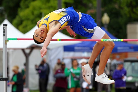 Odem's Spencer Bigner competes in the Class 3A boys high jump at the 2019 Track and Field State Championships  in Austin on Friday May 10 at The University of Texas Mike A Myers Stadium.