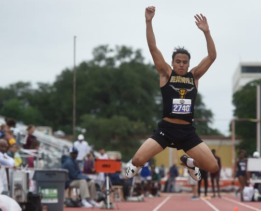 Zachary Trevino competes in the triple jump during the UIL State Track and Field meet, Friday, May 10, 2019, in Austin.