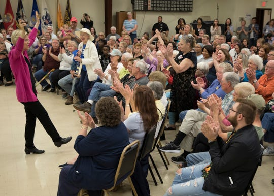Democratic presidential candidate Elizabeth Warren gets the crowd's approval as she talks about what needs to be done in Washington D.C. to end what she calls the corruption of government and bringing it back to the people during a stop in Chillicothe, Ohio, at the Ohio AMVETS Post 4 on May 10, 2019.