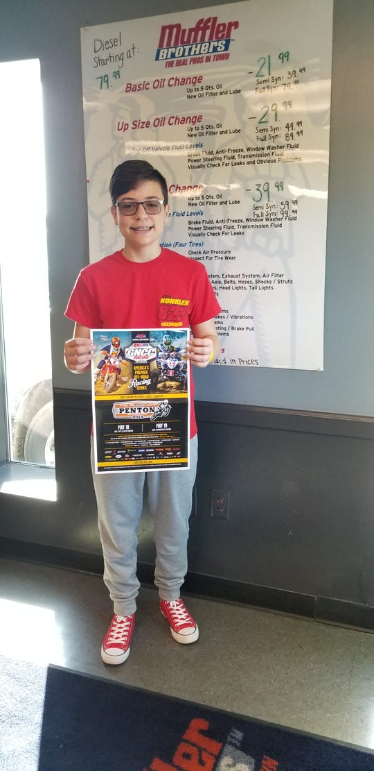 Zane Trace eighth-grader Ashton Poling will compete with the best off-road racers in the world on May 18 at the John Penton GNCC, in nearby Millfield,