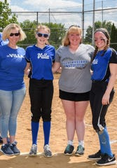 Softball mom Jen Meier, right, gets the treat of being in a picture taken last year with her daughters, youngest Camdyn (now a freshman at Villa Madonna); oldest Alexa (now a junior at Midway University), and middle daughter, Brooke Meier (now a senior at Villa). She usually runs scoreboard or is taking pictures, which made this photo special.