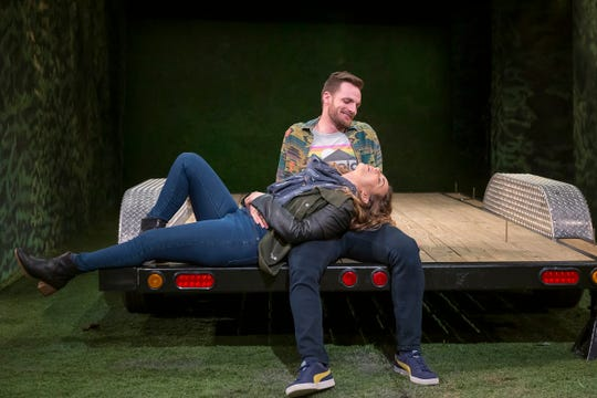 """Cath (Kate Eastman) and Bohdi (Peter Hargrave) are young lovers who have abandoned the hustle of New York City in favor of rural Oregon. There, they hope to find happiness in a DIY 200-square-foot house. They are the central characters in """"Tiny Houses,"""" running at the Playhouse in the Park through June 2."""