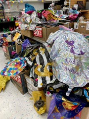 Balloons are on clearance at the Party City location in Springdale Friday, May 10, 2019. The Springdale location is one of 45 stores closing nationally. Party City says it is closing stores due to a global helium shortage.