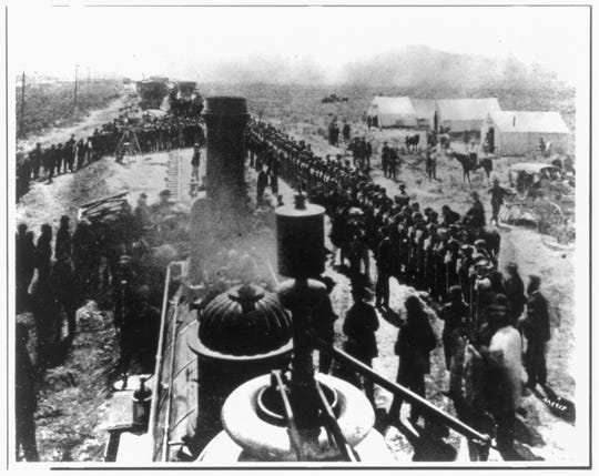 """The ceremony at """"wedding of the rails,"""" May 10, 1869, at Promontory Point, Utah, marked the completion of the transcontinental railroad."""