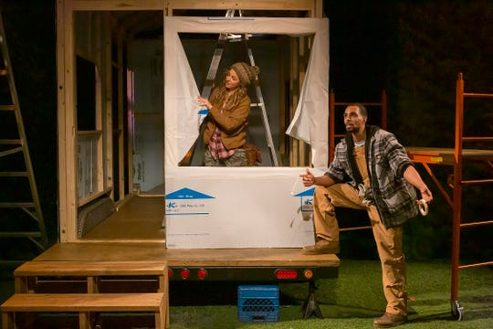 "Cath (Kate Eastman) and Jeremiah (James Holloway) in a scene from the Playhouse in the Park's world premiere co-production of ""Tiny Houses."""