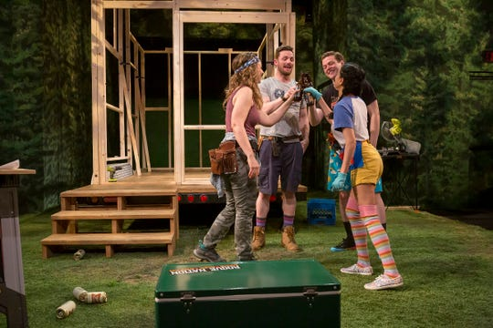 "Cath (Kate Eastman), from left, Bohdi (Peter Hargrave), Ollie (Michael Doherty) and Jevne (Nandita Shenoy) star in the Playhouse in the Park's co-production of Chelsea Marcantel's ""Tiny Houses."" Convinced that smaller is better, four Millennials set out to build a 200-square-foot house in rural Oregon."