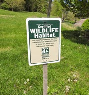 A sign designating an area of Clary Gardens as a certified wildlife habitat. The butterfly garden features milkweed butterflies lay eggs on and caterpillars then eat.