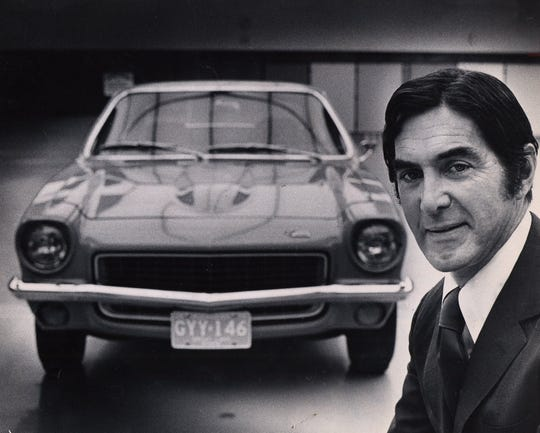John DeLorean posed with the Vega in 1970.  At this time, he was general manager of the Chevrolet Division of General Motors, GM.
