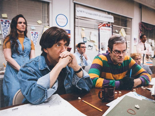 """Fred Armisen, left, and Bill Hader in a parody of 1993 political documentary """"The War Room"""" created for IFC's """"Documentary Now!"""""""